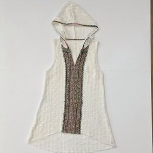 Free People Hooded Crochet Tunic Swimsuit Cover